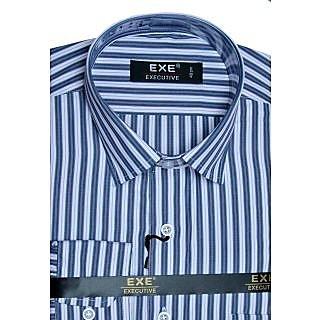 Exe Pink White Grey Stripes Full Sleeve Men's Shirt