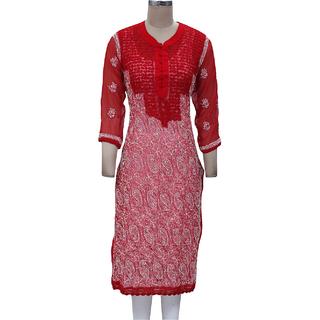Lucknowi Chikan Embroidered Long Kurti, Kurtis Long Top / Salwar Kameez Suit Red
