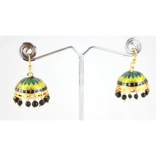 Ethnic Designer Gold Plated Meena Work Green&Turquoise Jhumki Earrings KJE228