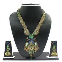 Zaveri Pearls Long Gorgeous Peacock Necklace Set-ZPFK2037