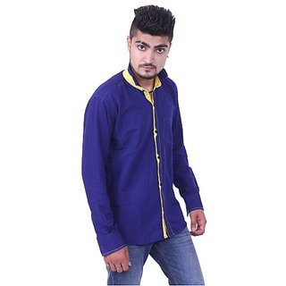 Austrich Blue Chinese Collar Cotton Shirt