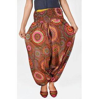 Indian Women BlackMulticolored Printed Harem Pants Trousers Afghani Brown