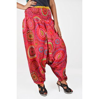 Indian Women Multicolored Printed Harem Pants Trousers Afghani Red