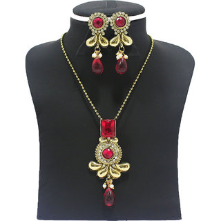 Zaveri Pearls Contemporary Red Pendant Set for Women -ZPFK2062