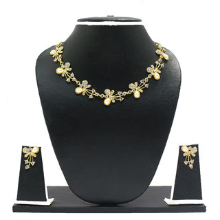 Zaveri Pearls SilverGolden Alloy Gold Plated Necklace Set For Women