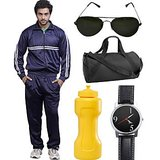 Fundoo-T Blue Track Suit With Gym Bag, Sunglass, Watch & Sipper Bottle