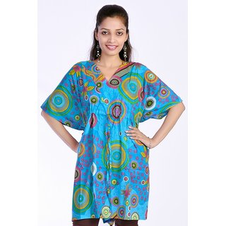 Women Multicolored Printed Cotton Sky Blue Color Kaftan Dress Tunic Top