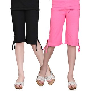 SINIMINI GIRLS COLORFUL CAPRI ( PACK OF 2 )SMPC200_BLACK_MPINK