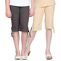 SINIMINI GIRLS COLORFUL CAPRI ( PACK OF 2 )-SMPC200DGREYBEIGE