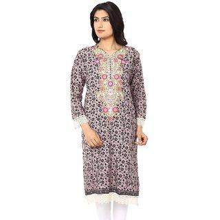 Akshiti Grey Printed Cotton Kurti With Embroidery