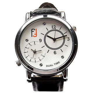Fidato Analog Black Faux Leather Dual Time Watch - Men
