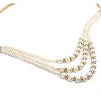 Goldnera Elegant White Pearl 3 Layered Necklace Set