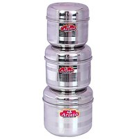 Aristo Steel Big Container 3Pcs Storage Sets With Design 550 To 875Ml Vr578