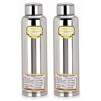 Paanjo Stainless Steel Fridge Bottle 900 Ml Silver 2 Pc Set