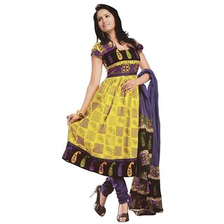 Fashionx yellow unstithed printed cotton dress material