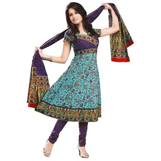 Fashionx purple unstitched printed cotton dress material