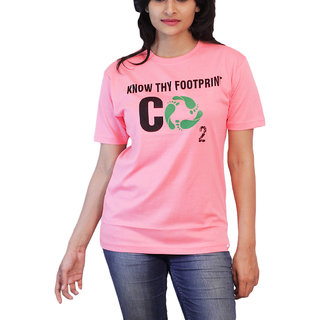 THESMO  Women's Round Neck Cotton T-Shirt, Pink