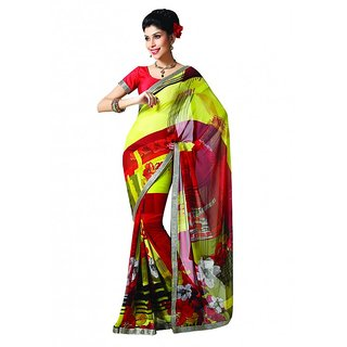 Bhavi Printed Faux Georgette Sari with Border (BHR2507)