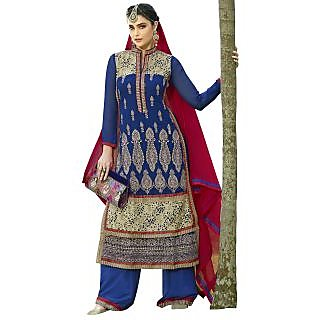 Vibes Fashionable Georgette Unstiched Dress Materials,Free Size,Blue,V10046