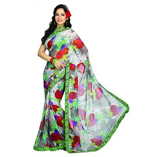 Bhavi Printed Faux Georgette Sari with Border (BHR2510)