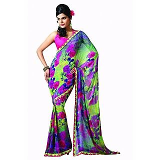 Bhavi Printed Faux Georgette Sari with Border (BHR2517)