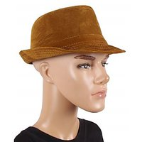 Brown Velvet Fidora Hat For men JSMFHCP1141