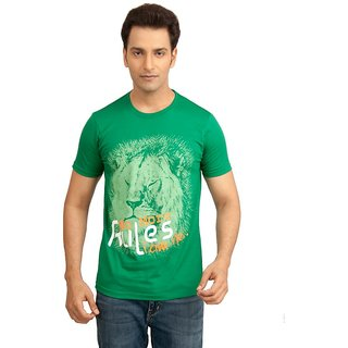 Vacuum Tshirts 100% Supima Cotton Safari Theme Lion Printed Green T-Shirt