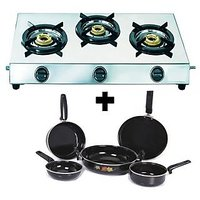 NAITIK Perfect  3 BURNER GAS STOVE SS With 5 Pc Branded Hard Coat