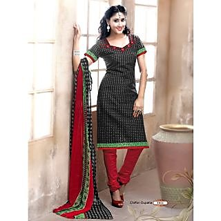 Khoobee Presents Printed Jacquard Chudidar Unstitched Dress Material(Black,Grey,