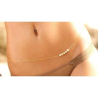Sexy Bikini18K Gold Plated White Pearl Alloy Belly Chains Body Chain Waist Belt