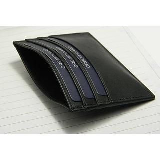HERTE Genuine Leather Black Credit Card Case