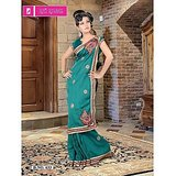 Stylish embroidered party wear saree-633A available at ShopClues for Rs.1000