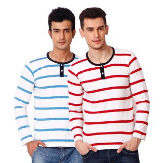 Phoenix Men's Henley Striped T-Shirt - Red & Sky Blue (Set of 2)