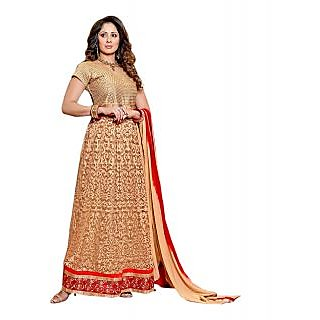IndiWeaves Women Net Brasso Embroidered Gold Dress Material