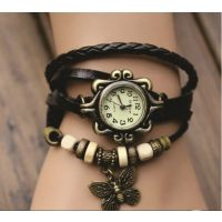 Round Dial Multicolor Leather Strap Womens Quartz Watch (Color As Per Availability)