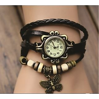 Round Dial Multicolor Leather Strap Womens Quartz Watch (Color As Per Availability)