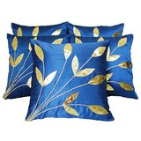 Leaves Patch Cushion Cover Blue (5 Pcs Set)
