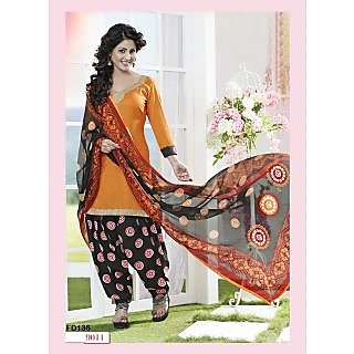 Fabfirki New Orange Printed Dress Materials