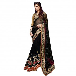 YSK Black Wedding Saree Georgette Net Embroidery Border Indian Sari