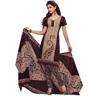 SGC-  Fawn Cotton unstitched churidar kameez with dupatta -SG-9112