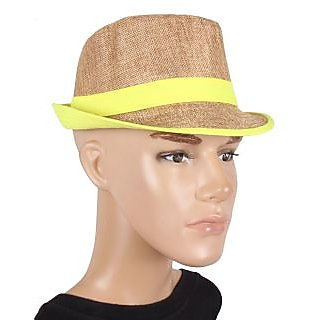 Brown With Yellow Lace Fidora Hat For men JSMFHCP1174