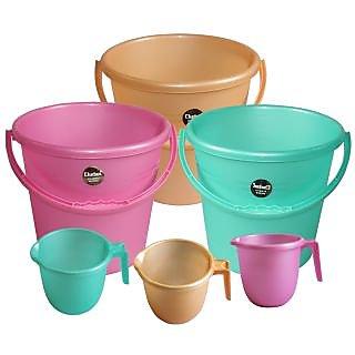 Chetan 3pc Frosty 16 Ltr Plastic Bucket  1 ltr Mug (Pink  Green  Peach)