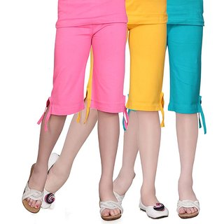 Sinimini Girls Cotton Multicolour Capri ( PACK OF 3 )-SMPC200_MPINK_GYELLOW_TBLUE