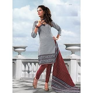 REYA Beautiful Black & White Cambric Cotton Dress Material Unstitched Suit D. No. SG606