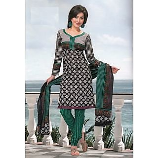 REYA Elegant Black & White Cambric Cotton Dress Material Unstitched Suit D. No. SG619
