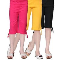 Sinimini Cotton Multicolour Girls Capri ( PACK OF 3 )-SMPC200_RPINK_GYELLOW_BLACK