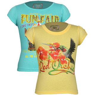 Jazzup-Girl's Cotton Printed T-Shirt Pack Of 2 (KZ-JNCC1846)