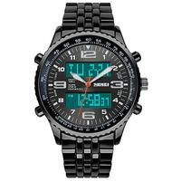 SKMEI 1032 Digital + Analog Led Backlight Unisex Watch- Full Black NWA05S052C0