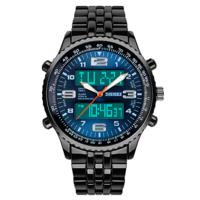 SKMEI 1032 Digital + Analog Led Backlight Unisex Watch- Blue Dial NWA05S051C0