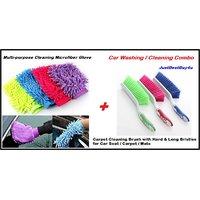 Car Multi-purpose Microfiber Gloves + Carpet Cleaning Brush Hard & Long Bristles